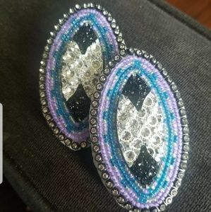 Oval beaded earrings
